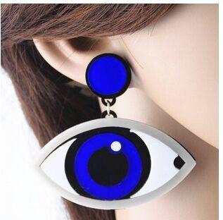 Uk European Female Unqiue Nightclub Bar Rock Punk Blue Eyes Acrylic Stud Earrings Woman Hip