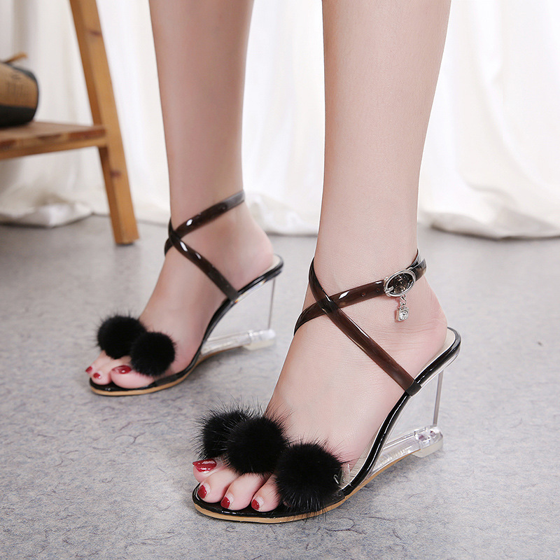 Wedges Sandals Glass Heel Women's Shoes Slope-Heeled Summer Fur-Ball New-Type Simple