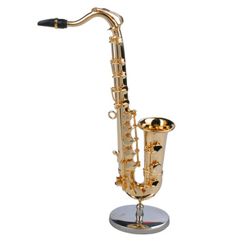 TSAI Mini Saxophone Musical Instruments Goldplated Craft Miniature Saxophone Model With Metal Stand for Home Decoration New