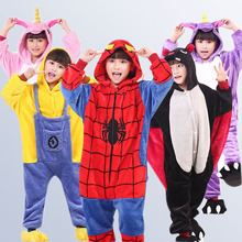 Kids Unicorn Pajamas Flannel Animal Unicorn Cosplay Pyjamas Boys Girls Winter Children Sleepwear Onesies for 4 6 8 10 12 Years