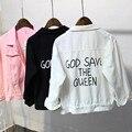 2017 mujeres chaquetas God save the queen denim abrigos Coreano de manga larga del todo-fósforo carta flojo ocasional primavera chaqueta de bombardero