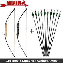 1 Juego de 40 libras arco recurvo con mezcla de flechas de carbono columna vertebral 500 arco recto al aire libre arco y flecha disparar accesorios de caza