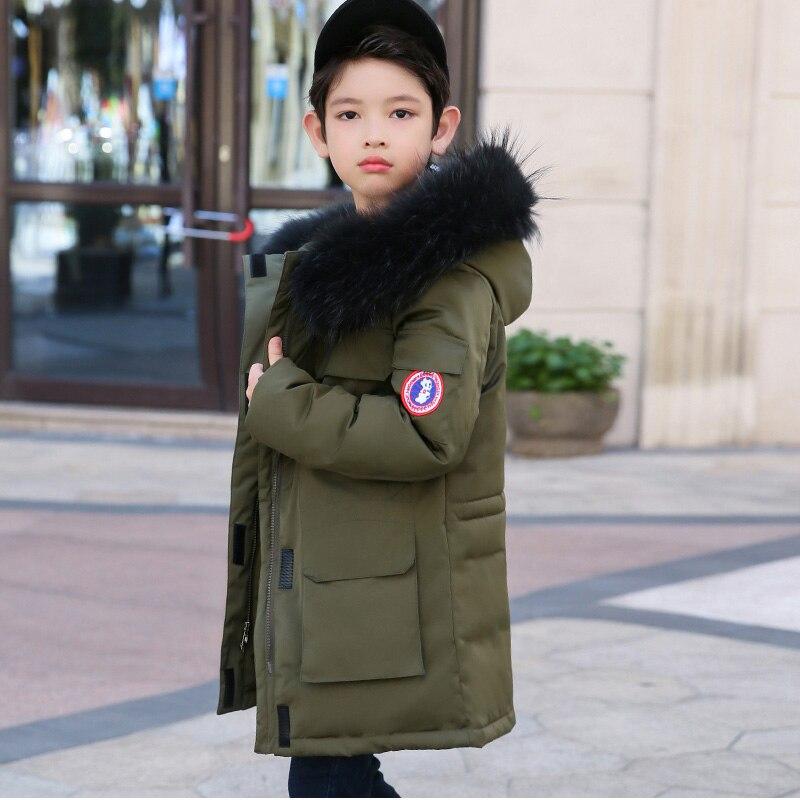 -30 degrés garçons vêtements chaud doudoune pour grands garçons 2019 hiver épaissir canard vers le bas réel fourrure à capuche vêtements d'extérieur pour enfants manteaux