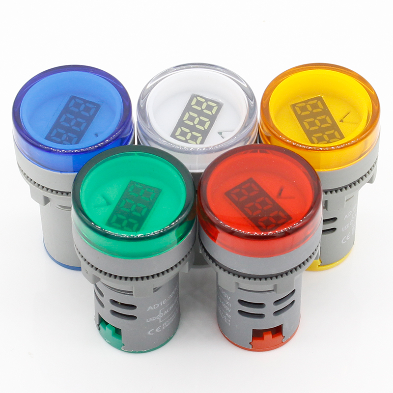 1pcs <font><b>22MM</b></font> AC 60-500V <font><b>LED</b></font> Voltmeter voltage meter indicator pilot light Red Yellow Green white Blue image