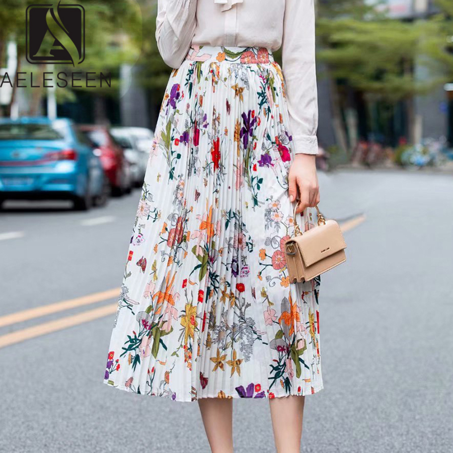 AELESEEN 2019 Summer Autumn New Fashion Mid-Calf Skirts Sweet Floral Print Elegant Classical Pleated Runway Design Midi Skirt