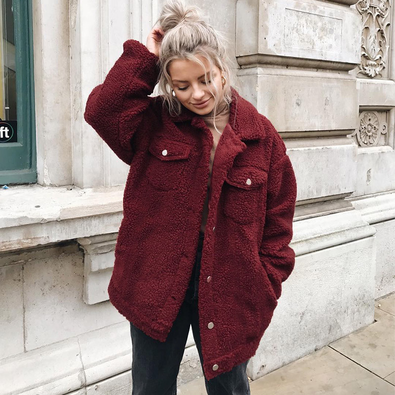 Qunndy Faux Lambswool Übergroße Jacke Mantel Winter Taste Khaki Warme Hairly Jacke Frauen Herbst Oberbekleidung Neue Weibliche Mantel