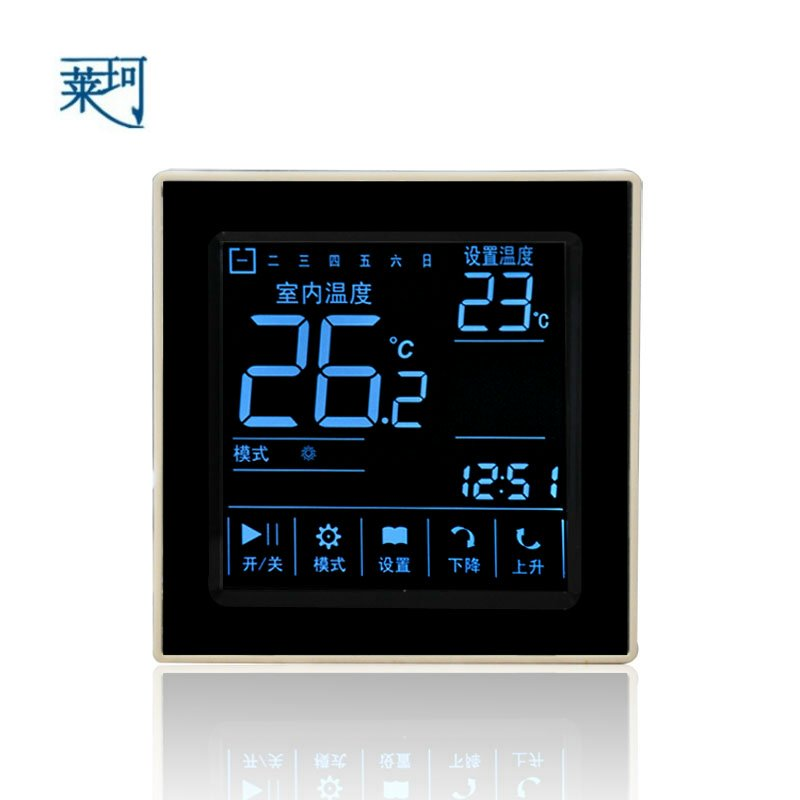 D303   5000W Black LCD touch screen electric heating thermostat temperature controller warm membrane switch range 40 99 degree 220v touch digital lcd temperature controller with touch button cooling heating switch thermostat