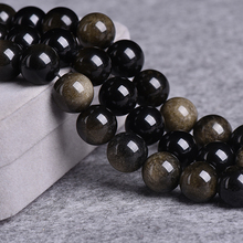 ICNWAY Natural 15inch 4-18mm Round gold Obsidian gemstone beads jewelry  Making DIY Necklace Bracelet Earring