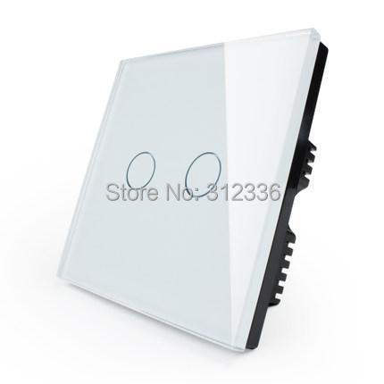 free shipping  2 gang 1 way  Glass touch switch White Color wall switch panel control tempering glass super  thickness is 5mm smart home us au wall touch switch white crystal glass panel 1 gang 1 way power light wall touch switch used for led waterproof