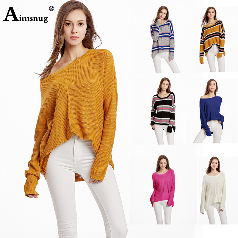Aimsnug Long Sleeve Striped Women Crewneck Knitted Pullover Sweaters Vintage Splice Autumn Ladies Pullover Jumper mit streifen in Pullovers from Women 39 s Clothing