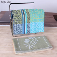 QF345 Special price hot sell rectangular jacquard pure cotton 2 color woven leaf kitchen towel cleaning glass cloth tea