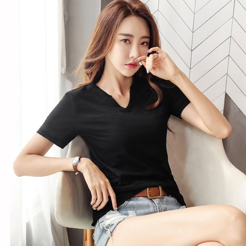 High Quality V Neck Cotton Basic T shirt Women Summer Plain Simple T Shirt For Women Short Sleeve Female Tops Gray Back White in T Shirts from Women 39 s Clothing