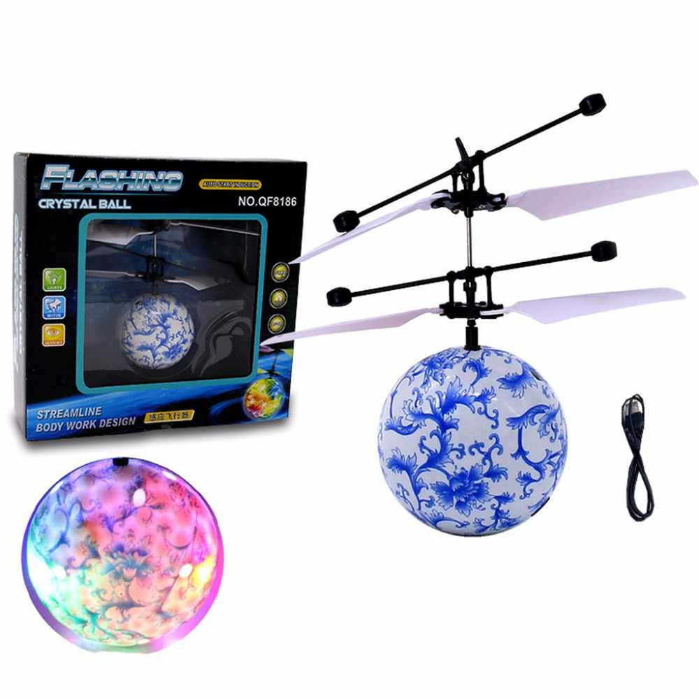 Anak-anak RC Bola Terbang Helikopter Mainan Drone Helikopter Bola Built-In Shinning Lampu LED Mainan Berwarna-warni Flyings
