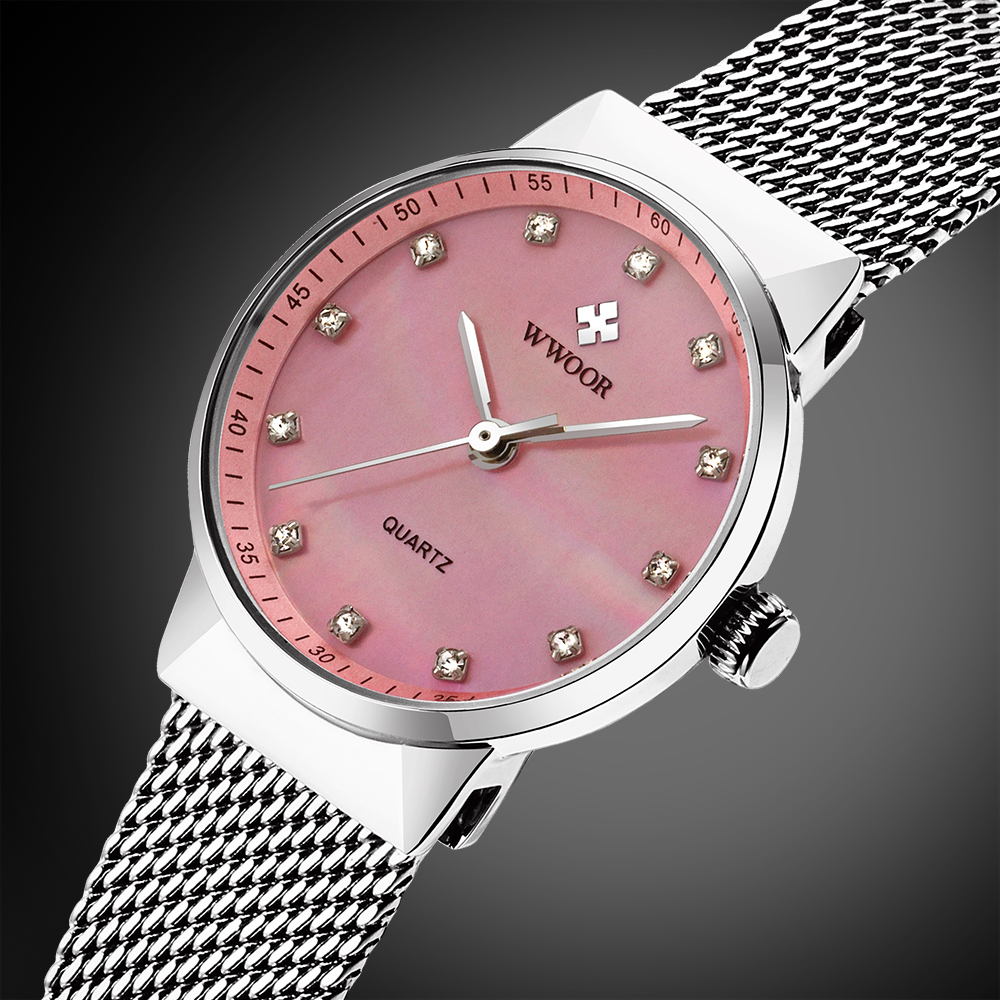 WWOOR New Top Luxury Women Watch Brand Ladies Watches Ultra Thin Stainless Steel Mesh Band Quartz Wristwatch Fashion casual feitong luxury brand watches for women ladies watch full stainless steel gold mesh band wristwatch wristwatch relogio feminino