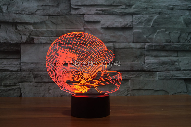 Los halcones de Atlanta gorra de fútbol americano casco 3D LED cambio de Color Decoración Luz de noche por táctil inducción control y AAA