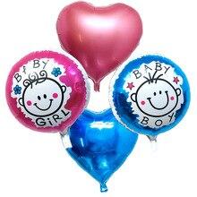 5pcs pink / blue Baby Feet Foil Balloons
