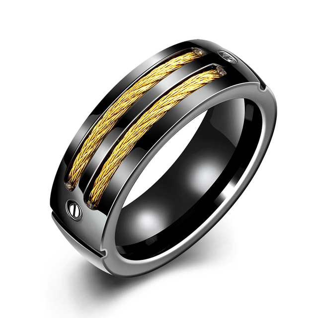 Jenia 8mm Titanium Band Herren Gold Schwarz Farbe Cable Inlay