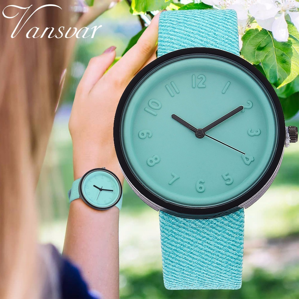 Vansvar Brand Fashion Simple Style Women Watch Canvas PU Leather Number Quartz Wristwatch Clock Relogio Feminino Drop Shipping