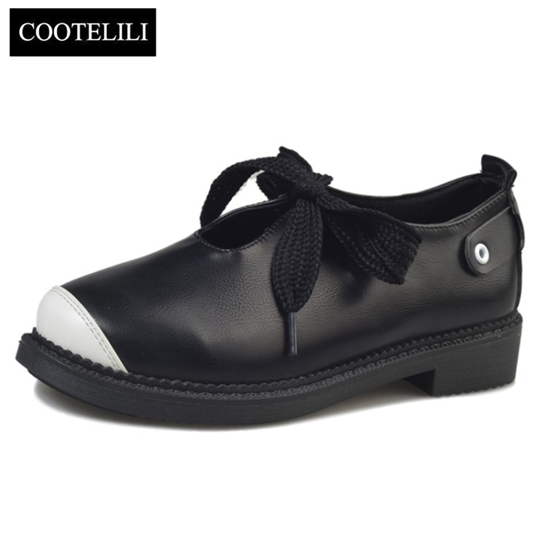 COOTELILI 35-39 Spring Casual Flats Women Shoes Round Toe Lace-Up Sweet Mixed Color Loafers Leisure Concise Shallow Ladies Shoes цена 2017