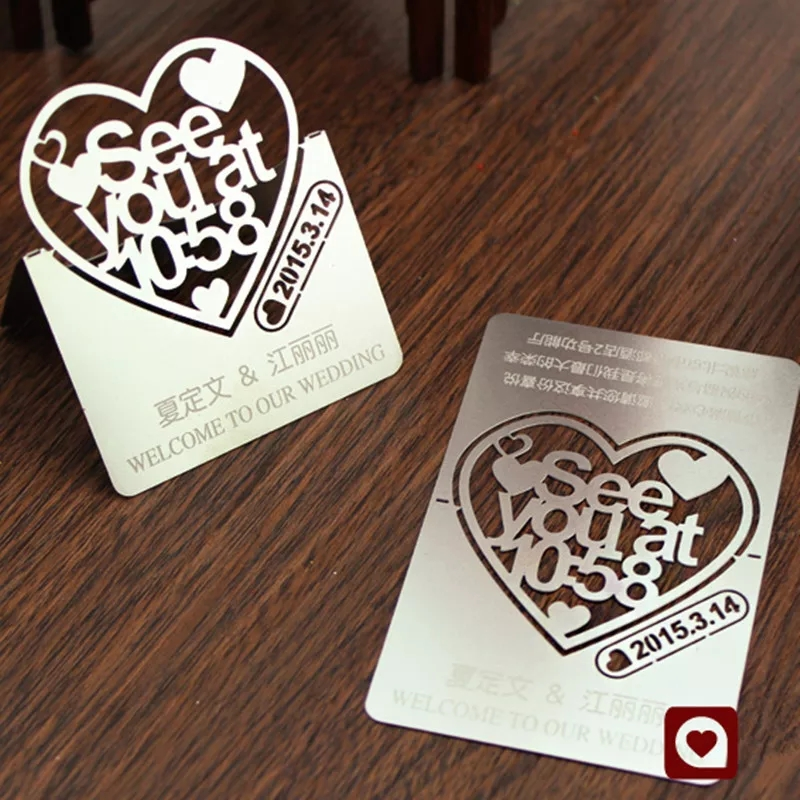Customized engrave name and logo silver metal business card tags