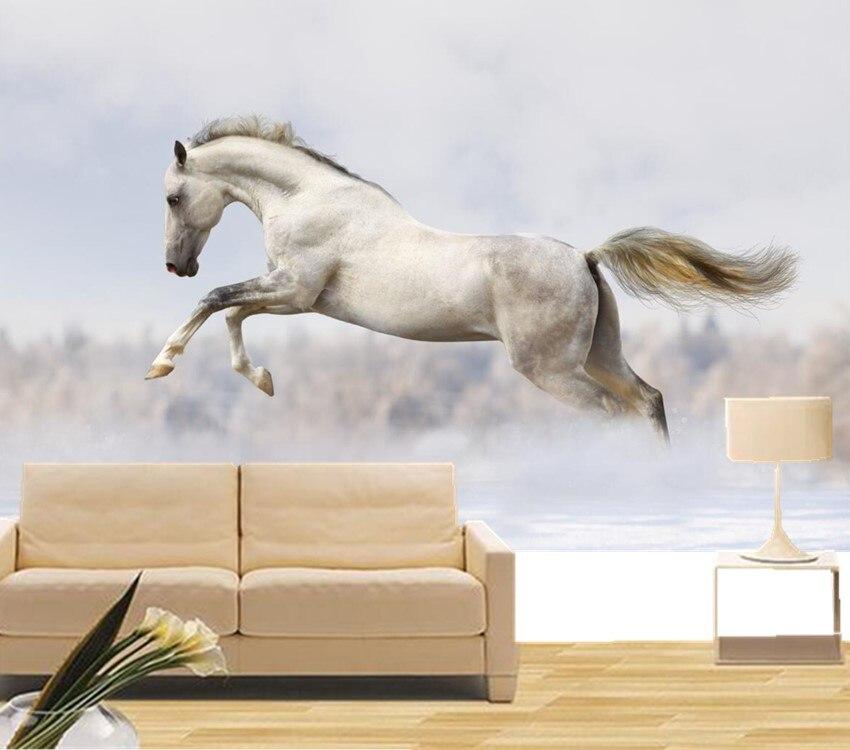 Peintures murales 3d personnalisées, saut de chevaux blancs papel de parede, hôtel salon canapé tv mur enfants chambre 3d papier peint décor mural