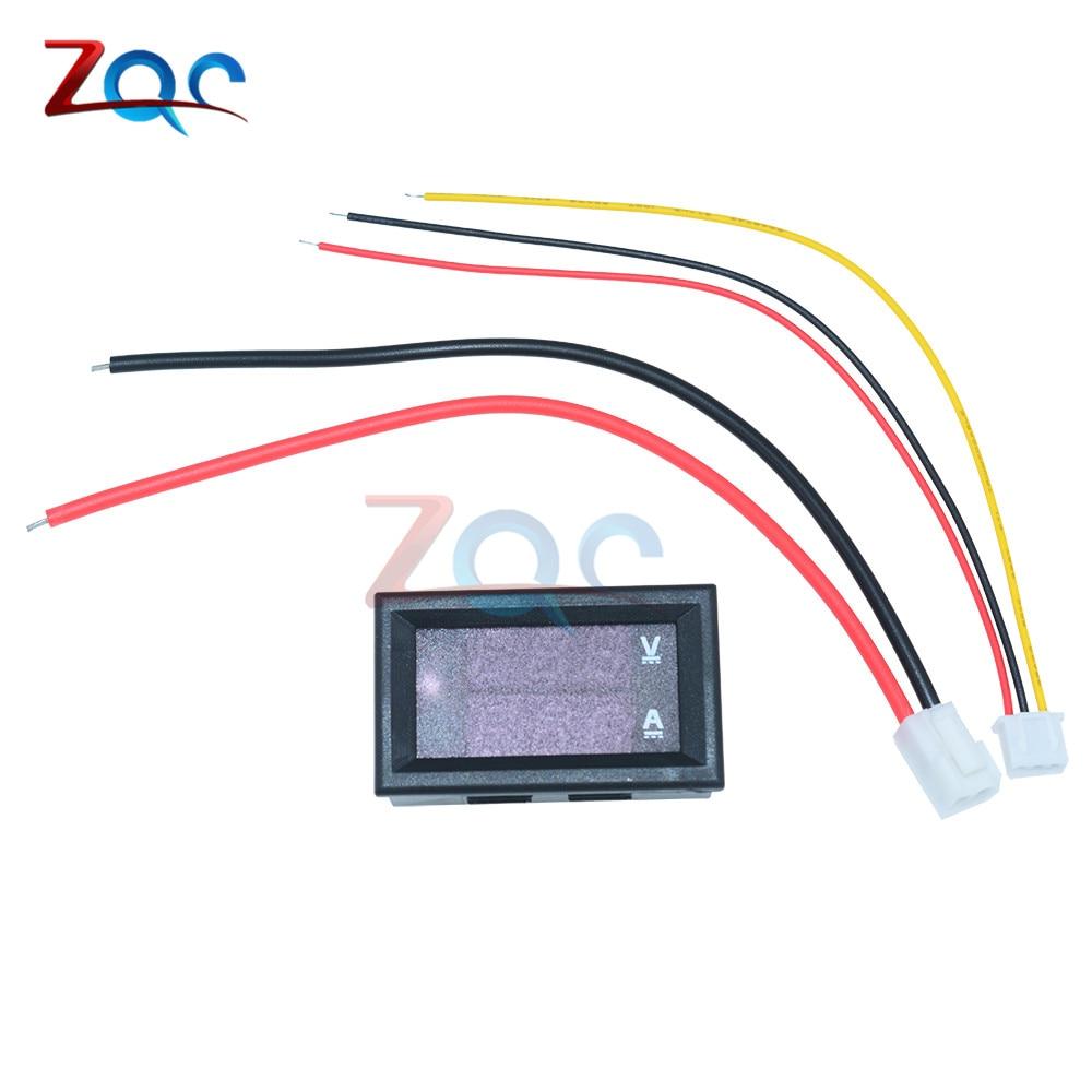 "HTB16jKUaNrvK1RjSszeq6yObFXaa Mini Digital Voltmeter Ammeter DC 100V 10A Panel Amp Volt Voltage Current Meter Tester Detector 0.56"" Dual LED Display Auto Car"