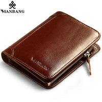 2017 Manbang New Leather Men Short Fashion Design Genuine Leather Purses Black Coffee MBQ176