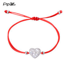 Pipitree Brand New Luxury Cubic Zirconia Heart Bracelet Jewelry Adjustable Lucky Red String Thread Lovers Bracelets for Women(China)