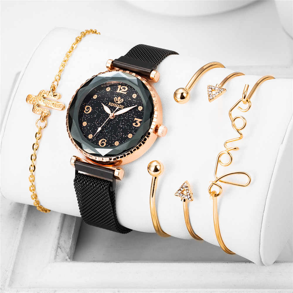 5 個セット高級腕時計女性ダイヤモンドデザイン 2019 新スタースカイバングル腕時計女性ファッションドレス時計 zegarek damski リロイ