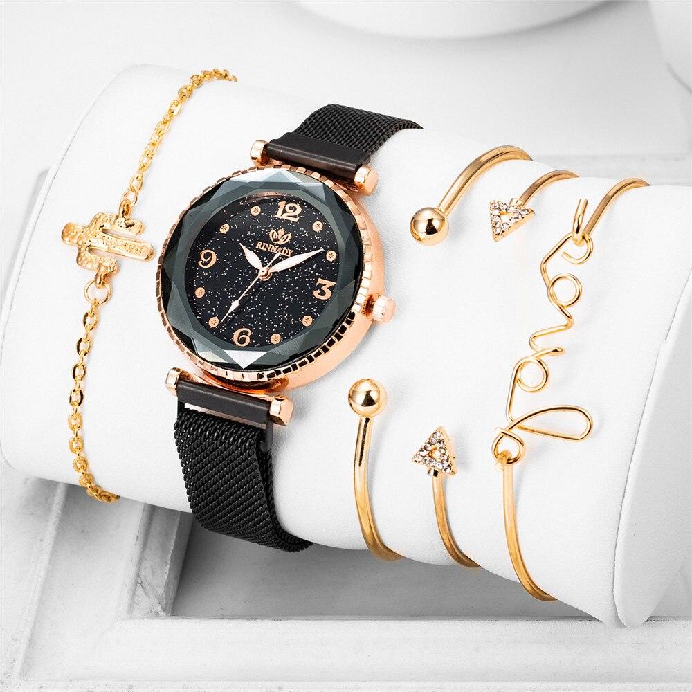 5pcs Set Luxury Watches Women Diamond Design 2019 New Star Sky Bangle Wristwatch Ladies Fashion Dress Clock Zegarek Damski Reloj