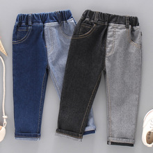 DIIMUU Toddler Baby Clothing Boys Girls Jeans Casual Denim Pants Multi Patchwork Solid Long Trousers Fashion Pants Fit 2-6 Years недорого