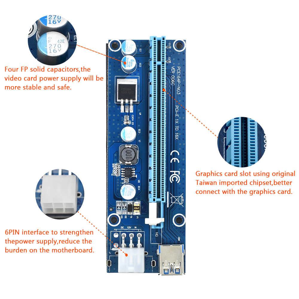 TISHRIC VER006C PCI Express PCIE PCI-E Yükseltici Kart 006C 6Pin 1x ila 16x Genişletici USB3.0 Kablosu SATA için IDE bitcoin madenciliği Madenci