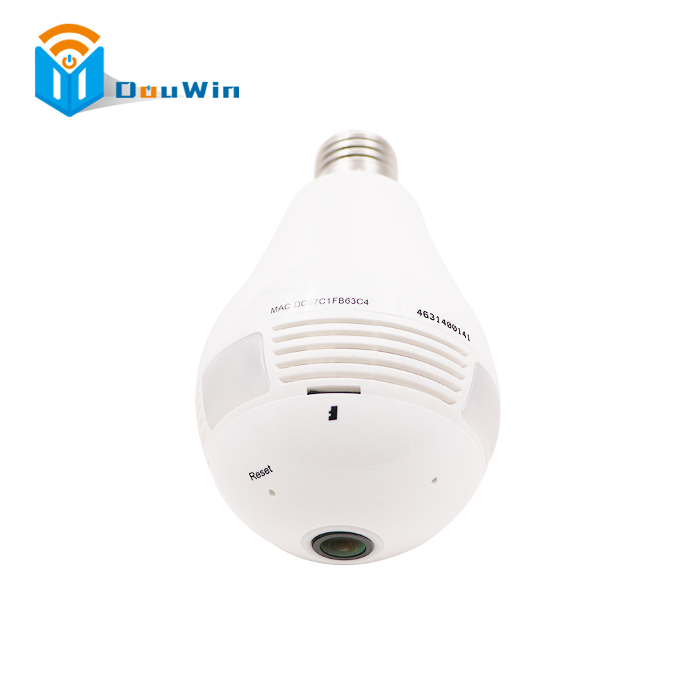 960P HD Bulb Light Wireless IP Camera Wi-FI FishEye 360 Degree Panoramic Mini Lamp Wifi Camera CCTV Home Security form DouWin bc 883m mirror bulb lamp camera hd 960p wifi ap hd 960p ip network camera with real light remote control 2017 new arrival