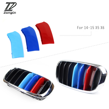 ZD 3pc ABS 3D Car Front Grille Trim Strips Cover Motorsport Stickers For BMW X5 E70 F16 F10 F30 X6 F15 M Performance Accessories image