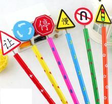 6 шт. новый милый ручной деревянный карандаш мультфильм дорожный знак Карандаши творческая тенденция Канцелярские Дети Студент Penci