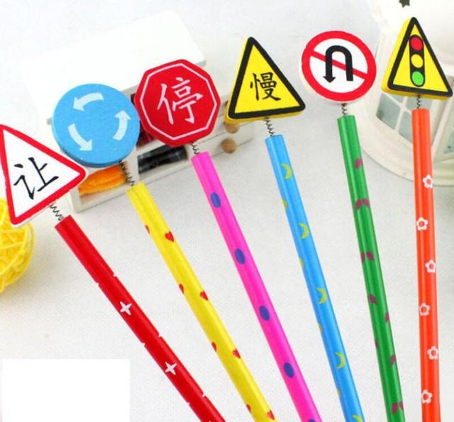 Us 227 5 Off6pcs New Cute Handmade Wooden Pencil Cartoon Traffic Sign Pencils Creative Trend Stationery Children Student Penci In Standard Pencils