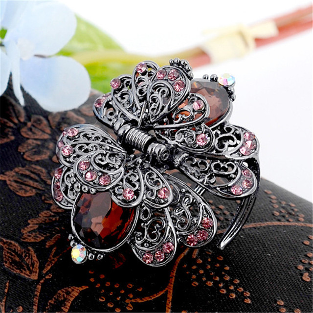 Charm Ancient Silver Metal Crab Claw Clip For Women Vintage Rhinestone Crystal Flower Hair Clip Wedding Hair Accessories Jewelry