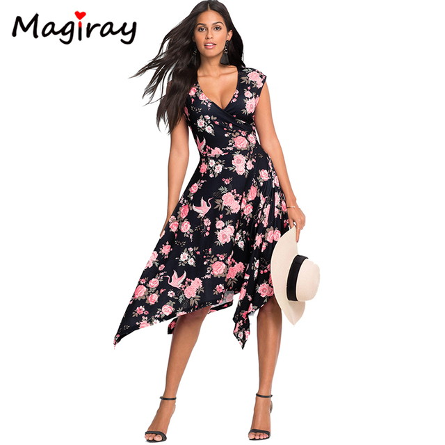 c155c1c894 Magiray Boho Dress Floral Tropical Print Strip Black Midi Dress Women  Summer 2019 Vestidos Festa Robe Femme Wrap Beach Dress 116