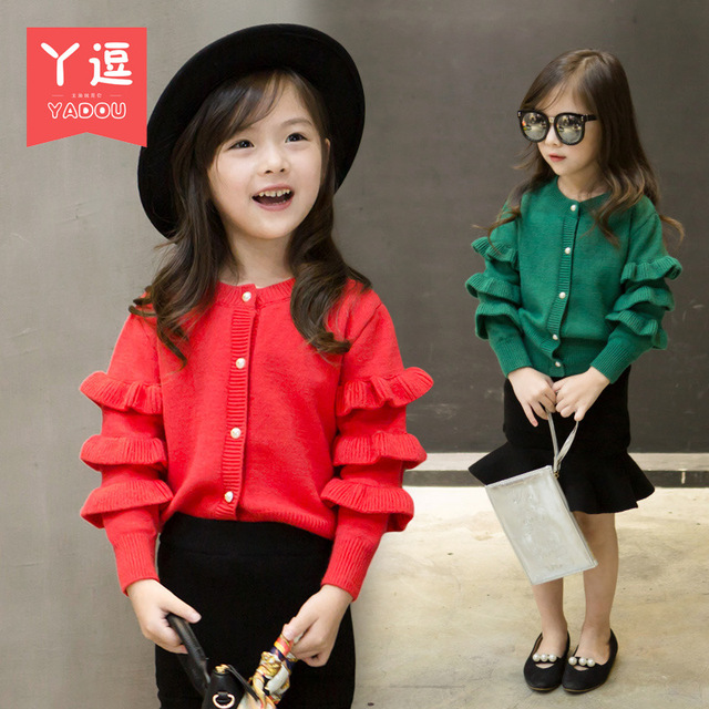 Girls autumn paragraph cardigan sweater 2016 new Korean long-sleeved dress baby sweater coat free shipping