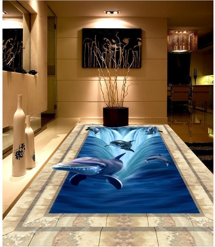 цена на Modern Custom 3D floor mural Marble Dolphin Waterfall 3D Floor  non-slip waterproof self-adhesive PVC Wallpaper