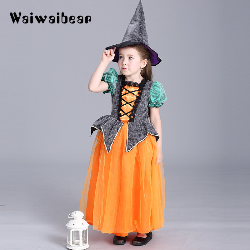 Arrival Halloween Dresses Children Kids Cosplay Halloween Party Costume For Girls Halloween Costume Party Dress With Hat цены онлайн