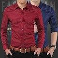 2016 Resorte de La Manera de Los Hombres Camisas de Algodón Sólido Slim Fit Camisas Casuales de Alta Calidad Hombre Camisas Sociales