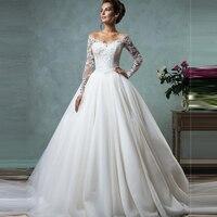 Elegant Vestido De Novia Vintage White Ball Gown Wedding Dress With Sleeves Robe De Mariage Princesse