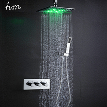 hm Thermostat Faucet Shower Set 10 LED Head Powered by Water Rain Saving Wall Mounted Box Chrome