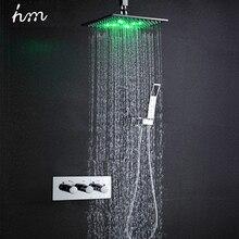 Hm термостат смеситель для душа набор 10 светодио дный душевая головка питание от воды дождь смеситель для душа экономия воды настенный ящик хром