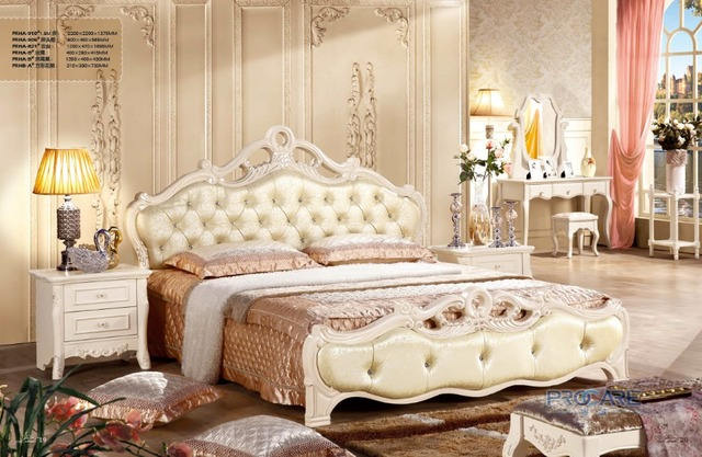 High Quality French New Design Bedroom Furniture Sets With 1.8m Bed,Beside  Table,