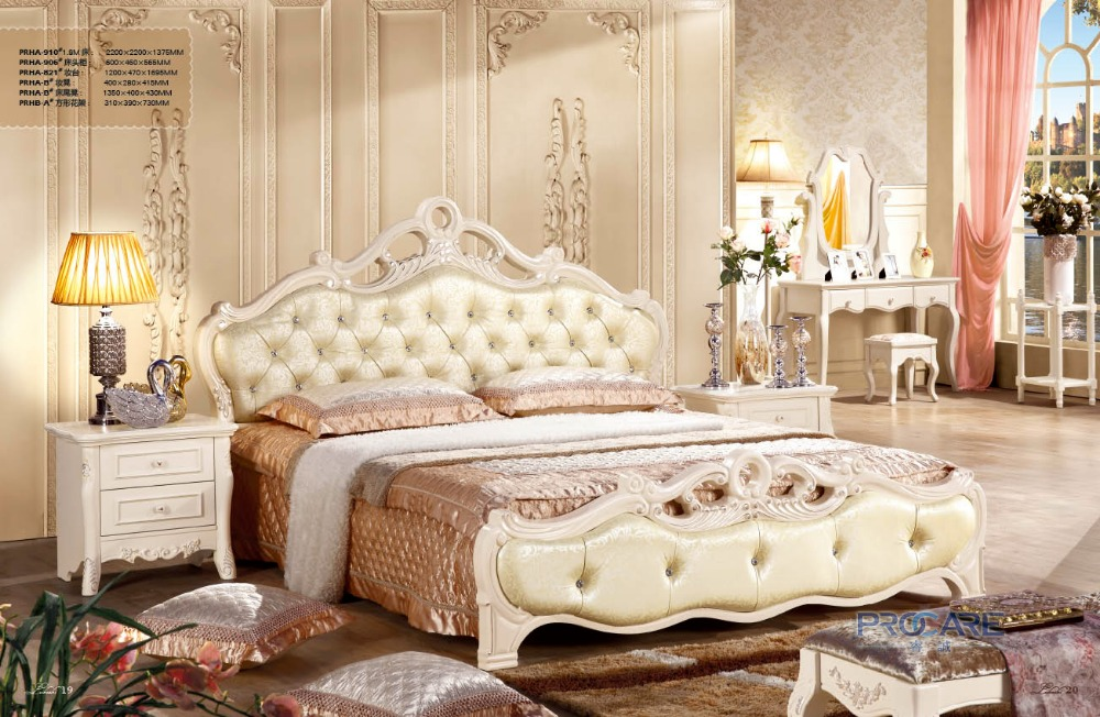 High Quality French New Design Bedroom Furniture Sets With 1 8m Bed Beside Table Dressing Table Dressing Chair Flower Stand 910