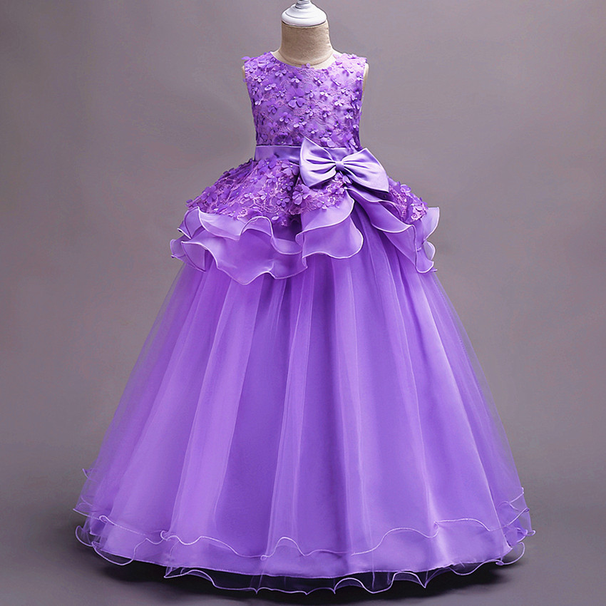 Baby Girls DressForParty AndWedding Pink Children Evening Dresses FlowerKids Princess Dress Lace BabyGirl Ball Gown