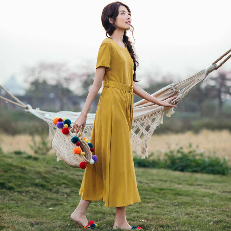 INMAN Summer New Arrival O-neck With Belt Defined Waist Solid Short Sleeve Women Long Dress
