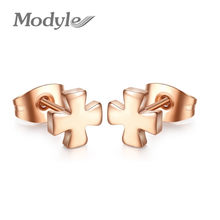 2018 New Fashion Cute Cross Stud Earrings Rose Gold-Color Stainless Steel Women Men Earring Jewelry(China)